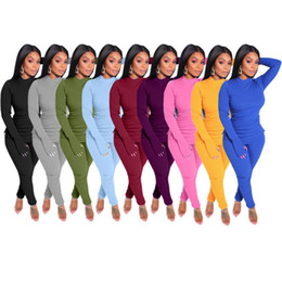 solid color long sleeve t shirts Canada - Designer Women Tracksuits Two Pieces Set Casual Long Sleeve Leggings Outfits Solid Color Ladies New Fashion Loose T Shirt Jogging Clothing