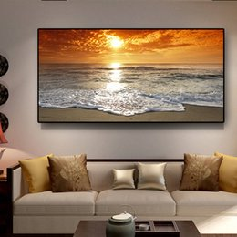 Discount paintings beaches Large Gold Sunsets Natural Sea Beach Landscape 5d diamond painting Diamond Embroidery full square round drill wall decor