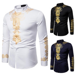 Wholesale gypsy shirts resale online - Mens Hipster African Print Dashiki Dress Shirt Brand New Slim Fit Tribal Gypsy Ethnic Shirt Men Long Sleeve Africa Clothing
