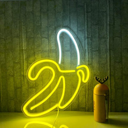 Wholesale Banana Dream Hello Neon Sign LED Art Wall Shop Lamp light USB Powered for Bedroom Party Home Decor Window Decoration Night Lamps Xmas Gift
