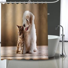 Wholesale cat images for sale - Group buy Custom dog and cat Shower Curtain With Plastic Hooks Modern Fabric Bath Curtains Home Decor Curtains Custom Your image Q0121