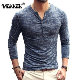 mens cotton lycra t shirts 2021 - 2020 Elastic T-Shirt Mens V-Neck Long Sleeve Men Gyms T Shirt Male Lycra Cotton TShirt Sexy Business Slim Fit Undetshirt