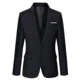 Wholesale suit sale mens resale online - Hot Sale New Arrival Fashion Blazer Mens Casual Jacket Solid Color Cotton Men Blazer Jacket Men Classic Mens Suit Jackets Coats