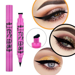 120 PCS Hot 2In1 Black Eyeliner Lápiz Sello de maquillaje Sello Líquido Pluma Impermeable Rápido Driso Doble Thin Thing Wing Ojo Maquillaje Cosmético