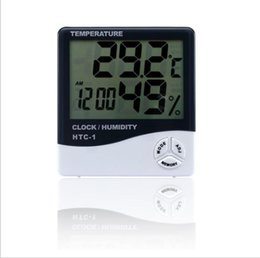 Digital LCD Temperature Hygrometer Clock Humidity Meter Thermometer with Clock Calendar Alarm HTC-1 100 pieces up EWF3059 on Sale