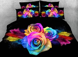 Wholesale printed fabric sheets for sale - Group buy JF Luxury Black fabric sheets with colorful roses print bedding sets rose duvet cover set1