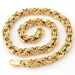 """Hot Sale 8 12 15mm Wide Silver Gold Stainless Steel Byzantine Chain Necklace & Bracelet Jewelry Gift 7-40""""1"""