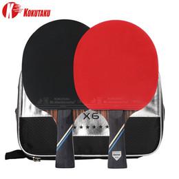 Kokutaku ITTF Professional 4/5/6 estrella Ping Pong Raqueta Tabla de carbono Raqueta de ping Paddle Set Pimply en goma con bolsa 201204 en venta