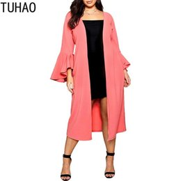 Wholesale ruffled trench for sale - Group buy Spring Trench Coat for Women Ruffles Sleeve Plus Size XL XL XL Long Overcoat Casual Outwear Windbreaker JLSM