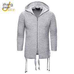 Wholesale grey wool cardigan for sale - Group buy Grey Cardigans Men Hooded Sweater Long Sleeve Mens Sweaters Solid Tops Fit Knitting Casual Style Clothing Streetwear