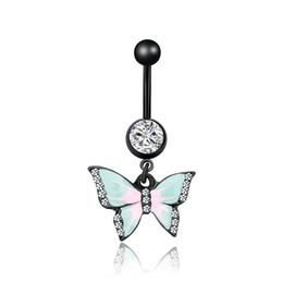 Ingrosso Anello dell'ombelico dell'ombelico dell'anello del capezzolo dell'enignazione dell intarsio di cristallo di cristallo Delle donne di caduta a forma di farfalla a forma di farfalla anelli del seno punk Gioielli del corpo del piercing umano 2DL J2