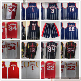 Discount tracy mcgrady jersey Retro Basketball James 13 Harden Jerseys Stitched Vintage Hakeem 34 Olajuwon Tracy Steve 1 McGrady 3 Francis Yao Clyde 11 Ming 22 Drexler