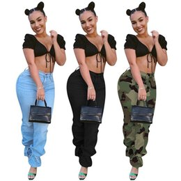Wholesale denim overalls for women resale online - Stacked Jeans for Women High Waist Stretch Loose Casual Bandage Pants Overalls Camouflage Denim Cut Trousers