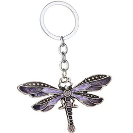 bulk keychains Australia - 12pcs Wholesale Purple Dragonfly Pendant Keychain Crystal Key Chains Women Keyring Girls Gifts Bulk Price
