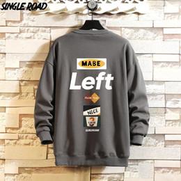 Wholesale grey hoodie for sale – custom SingleRoad Mens Crewneck Sweatshirt Men Autumn Print Oversized Japanese Streetwear Hip Hop Grey Hoodie Men Sweatshirts