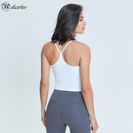 Wholesale tight chest resale online - 2021 sexy Y shaped beauty strap chest pad yoga vest moisture wicking stretch tight yoga clothing