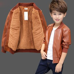 baby threads clothing NZ - INS Baby Boys PU Jackets velvet thickening Winter 1-13 year old Threaded Three-dimensional embossing jacket all season clothing Y200831