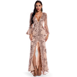 sexy nice long dress 2021 - Sexy Women's Party and Meeting Dresses V Neck Long Sleeve Split Lady's Sequins Dress Nice Mesh Panelled Dresses