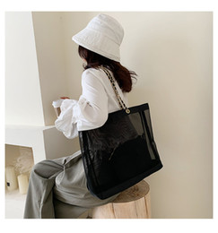 Новая классическая белая печать покупок цепная сумка с лентой классический пляж дорожная сумка женщин стиральный мешок косметический макияж сетчатый корпус на Распродаже