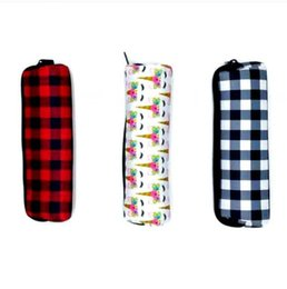 Wholesale fabric pens resale online - Pencil Cases Large Capacity Neoprene Pen Bags Black White Red Plaid Storage Pouch Student Lovely School Supplies FWC3882