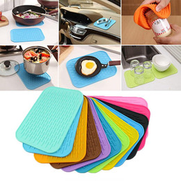 Discount wholesaler silicone trivets Rectangle Silicone Dish Drying Mat Thickness Heat Resistant Trivet Drip Tray Cup Coasters Non-slip Pot Holder Table Mats Kitchen