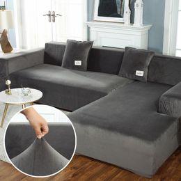 Plush Sofa Covers for Living Room Velvet Elastic Corner Sectional Couch Love Seat Cover Set Armchair L Shape Furniture Slipcover 201119 on Sale