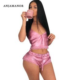 Wholesale piece sleep set resale online - ANJAMANOR Pink Satin Lace Cute Sexy Piece Set Women Clothing Crop Top and Shorts Sleep Matching Sets Two Piece Outfits D34 I44 T200702