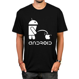 Wholesale android shirts for sale - Group buy Spoof Android Robot T Shirt Hot Design Letter Print Comfortable Cotton Tshirt