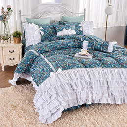 ruffled king bedding set 2021 - Romantic retro flower ruffle bedding set,twin full queen king cotton single double bedclothes bedspreads pillow case qui