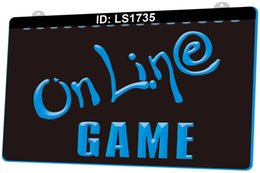 Wholesale games center resale online - LS1735 Online Game Cafe Center Internet Lure D Engraving LED Light Sign Colors Retail Free Design