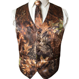 Wholesale black men suit size 46 for sale - Group buy Casual Camo Vests For Men Tuxedos Groom Wedding Suits Attire Country Style Party Prom Hunter Custom Made Plus Size Cheap White Black