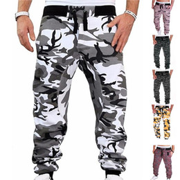 camo sweatpants NZ - Mens Joggers Camouflage Sweatpants Casual Sports Camo Pants Full Length Fitness Striped Jogging Trousers Cargo Pants