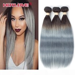 human hair two tone gray NZ - HOTLOVE Two Tone 1B Grey Ombre Brazilian Remy Human Hair Extensions Straight Hair 3 Bundles 4 Bundles Lot Gray Color 12-24 inch