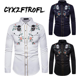 skull dress shirts Canada - CYXZFTROFL 2020 Mens Western Cowboy Skull and Flower Embroidery Shirt Slim Fit Casual Long Sleeve Button Down Party Shirts S-XXL1