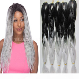ombre hair prices Canada - synthetic hair extensions wholesale price black silver two tone jumbo braiding ombre synthetic braid hair for black woman free shipping