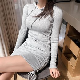 Discount long sexy hooded dresses Sexy Bodycon Bandage Women's Mini Dress 2020 Autumn Casual Cotton Long Sleeve Party Hooded Sheath Ladies Short Dres