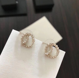 Fashion gold diamond stud earrings des boucles d'oreilles for lady Women Party Wedding Lovers gift engagement Jewelry for Bride with box. on Sale