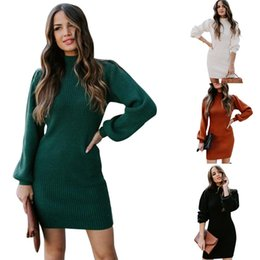 ingrosso abiti da collo di tartaruga-Abiti da donna Casual Knit Dresses Turtle Neck Lantern Sleeve Dress Slim Dress Solid Color Donne spesse Abiti da maglione sexy Sexy
