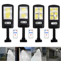 Wholesale COB Solar Lights Remote Control PIR Motion Sensor LED Solar street lamp outdoor Waterproof Spotlight Garden Wall light