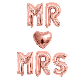 heart foil balloons NZ - 6pcs 16inch rose gold letter balloons MR MRS heart foil balloon Wedding anniversary Valentine's day party decoration supplies