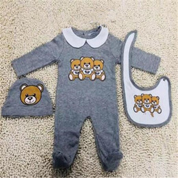 Newborn Baby Clothes Set Cute Infant Baby Boys Letter Romper Baby Girl Jumpsuit+bibs +Cap Outfits Set