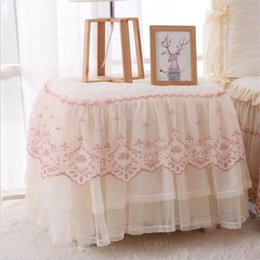 Wholesale quilted fabrics resale online - Table Cover Romantic Lace Bedside Cabinet Table Covers Quilted Dust Cover Bedroom Bedside Table Skirt Cotton Padding Tablecloth ZYY135