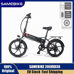 Wholesale EU Stock Samebike 20LVXD30 Folding MTB Electric Bicycle 20 Inch Tire Speed Electric Bike 48V 350W 35km h 10.4Ah E-bike Electric Moped Bike