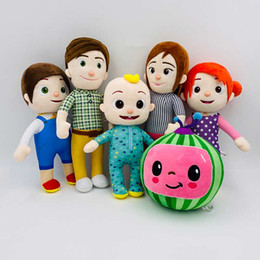 family puppets UK - 15-33cm Cocomelon Plush Toy Figures Cartoon TV Series Family JJ Sister Brother Daddy Mummy Stuffed Doll Kids Chritmas Gift