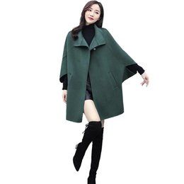 casacos de lã feminina venda por atacado-2020 New Wool Women s Mid Length Bat Sleeve Solta Casaco elegante Lapela All Match Casaco