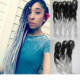 ombre hair prices Canada - Wholesale Price 20inch Black Silver Synthetic Jumbo Braids Ombre Braid Hair for Black Women Free Shipping