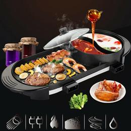 2 em 1 elétrica pasta quente panela churrasco churrasco não-stick teppanyaki sopa portátil em Promoção