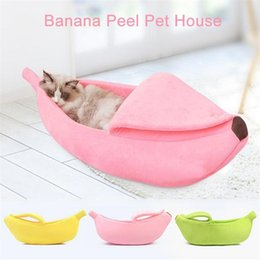 Wholesale house boats resale online - Cat Bed Cute Banana Peel Shape Pet Nest Warm House for Dog Cat Winter Sleeping Beds for Cats Nest Warm Boat House