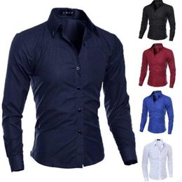 Wholesale new stylish blue white casual shirt resale online - Luxury Stylish Shirts Long Fit Fashion Sleeve Dress Casual Mens Slim New Men s long sleeve shirt Size M XL