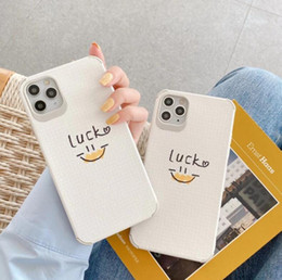 Discount case smiley face DHL 100pcs Cute and simple luck smiley face phone case leather soft for iPhone11pro XS MAX case tective cover iphone 12 pro max case